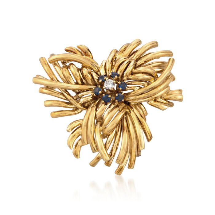 C. 1970 Vintage Tiffany Jewelry 1.20 ct. t.w. Sapphire and .20 Carat Diamond Floral Pin in 18kt Yellow Gold, , default