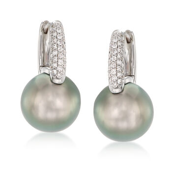 """Mikimoto """"Classic"""" 10mm A+ South Sea Pearl and .28 ct. t.w. Diamond Hoop Earrings in 18kt White Gold. 3/4"""""""