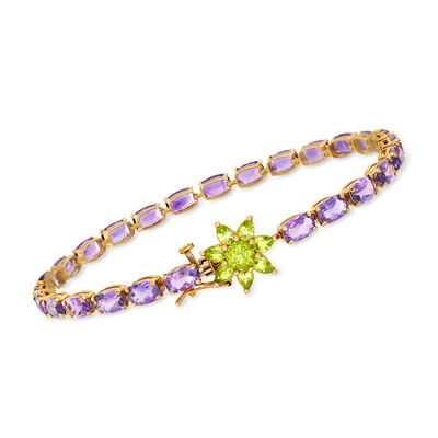 C. 1990 Vintage 9.10 ct. t.w. Amethyst and 1.05 ct. t.w. Peridot Flower-Clasp Bracelet in 14kt Yellow Gold, , default