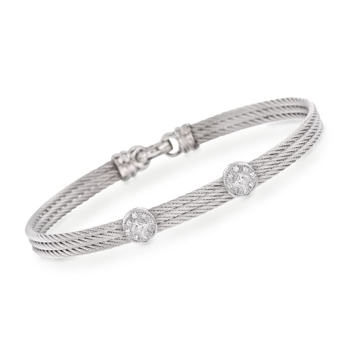 "ALOR Classique Diamond Dual-Station Bangle in Stainless Steel and 18-Karat White Gold. 7"", , default"