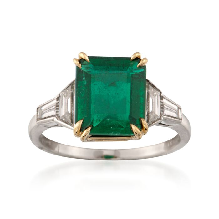 C. 1990 Vintage 2.25 Carat Emerald and .50 ct. t.w. Diamond Ring in Platinum and 18kt Yellow Gold. Size 5.75, , default
