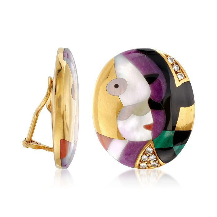 C. 2000 Vintage Asch Grossbardt Multi-Stone and .35 ct. t.w. Diamond Cubism Clip-On Earrings in 18kt Yellow Gold