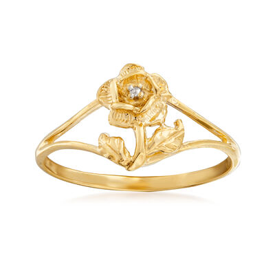 C. 1970 Vintage Diamond-Accented Flower Ring in 10kt Yellow Gold, , default