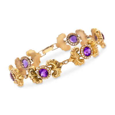 C. 1910 Vintage 8.00 ct. t.w. Amethyst and 1.85 ct. t.w. Diamond Bracelet in 14kt Yellow Gold