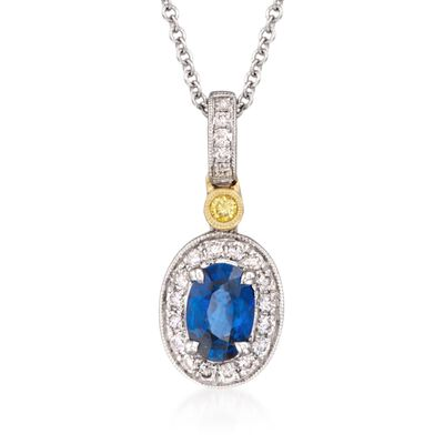 Simon G. .50 Carat Sapphire and .16 ct. t.w. Yellow and White Diamond Pendant Necklace in 18kt Yellow and White Gold, , default