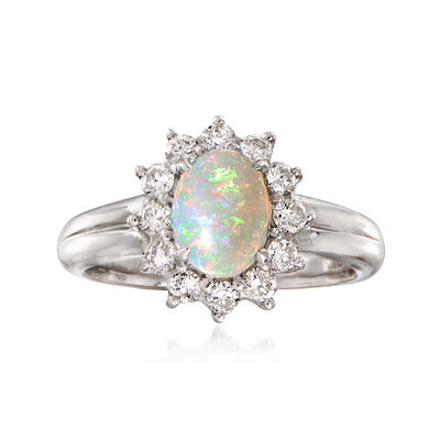 C. 1990 Vintage Opal and .50 ct. t.w. Diamond Ring in Platinum