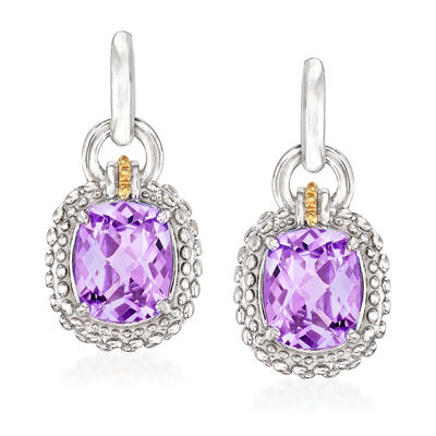 "Phillip Gavriel ""Popcorn"" 4.80 ct. t.w. Amethyst Drop Earrings in Sterling Silver with 18kt Yellow Gold"