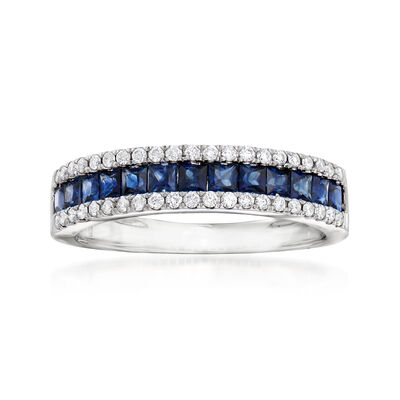 C. 1990 Vintage Giantti .75 ct. t.w. Sapphire and .30 ct. t.w. Diamond Band in 18kt White Gold, , default