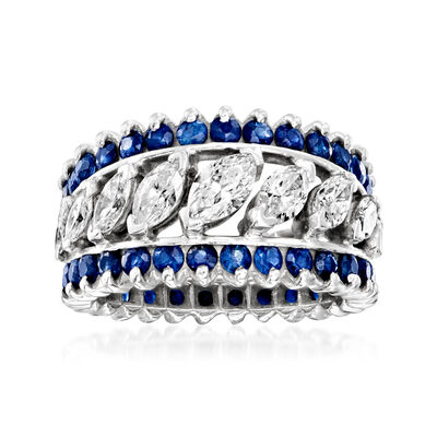 C. 1980 Vintage 3.35 ct. t.w. Sapphire and 1.50 ct. t.w. Diamond Ring in 14kt White Gold