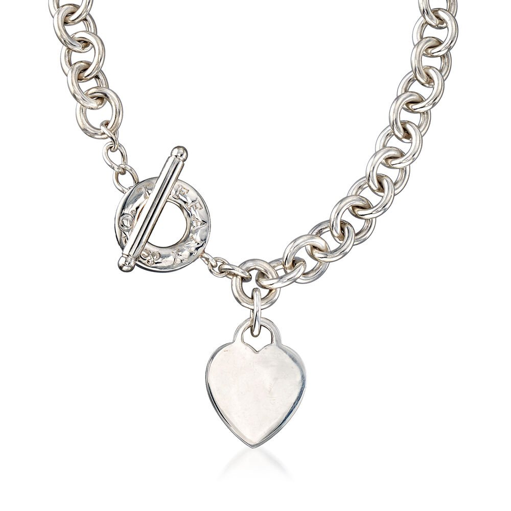 C 1990 Vintage Tiffany Jewelry Sterling Silver Necklace With Heart Charm Sidney Thomas
