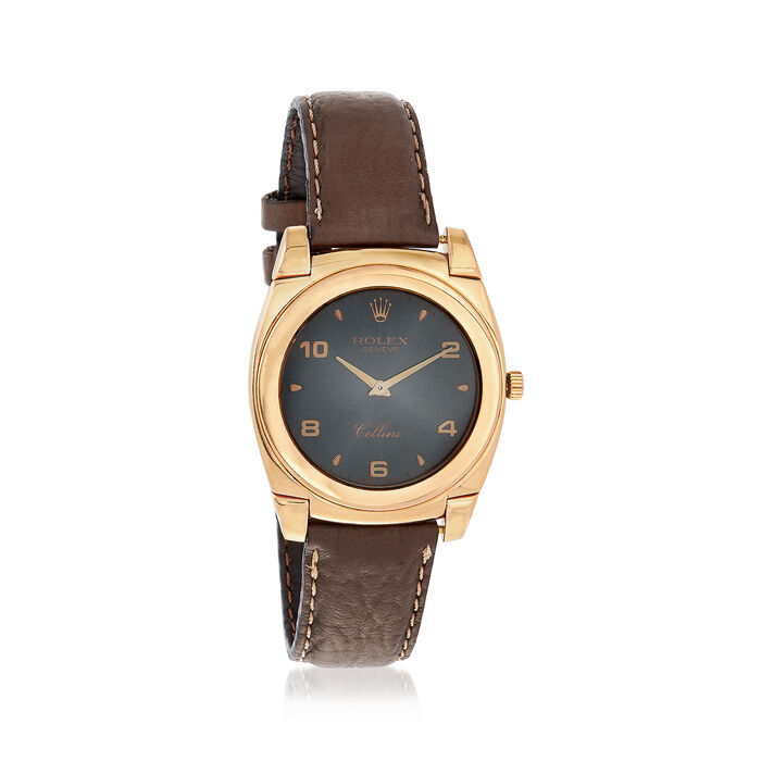 C. 1980 Vintage Rolex Cellini Men's 35mm Manual 18kt Yellow Gold Watch with Brown Leather