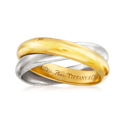 C. 1980 Vintage Tiffany Jewelry 18kt Two-Tone Gold Rolling Ring, , default