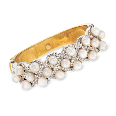 C. 1980 Vintage 6.5mm Cultured Pearl and 2.70 ct. t.w. Diamond Bracelet in 18kt Two-Tone Gold