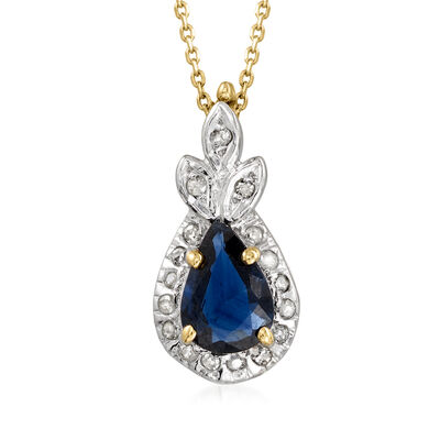 C. 1990 Vintage .50 Carat Sapphire and Diamond-Accented Pendant Necklace in 14kt Yellow Gold