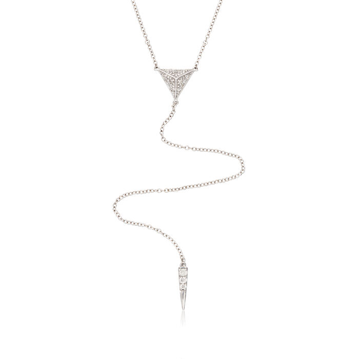 Gabriel Designs .14 ct. t.w. Diamond Y Necklace in 14kt White Gold