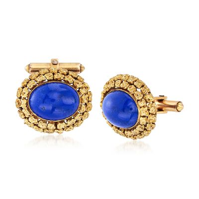 C. 1960 Vintage Men's Lapis Cuff Links in 14kt Yellow Gold