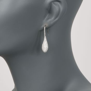 Roberto Coin 2.31 Carat Total Weight Pave Diamond Teardrop Earrings in 18-Karat White Gold, , default