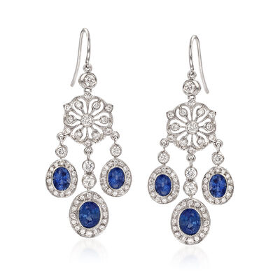 C. 2000 Vintage 2.80 ct. t.w. Sapphire and 1.70 ct. t.w. Diamond Chandelier Earrings in 18kt White Gold, , default