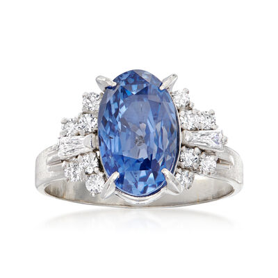 C. 1990 Vintage 6.97 Carat Certified Ceylon Sapphire and .35 ct. t.w. Baguette and Round Diamond Ring in Platinum