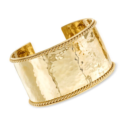 "Phillip Gavriel ""Italian Cable"" Large Cuff Bracelet in 14kt Yellow Gold"
