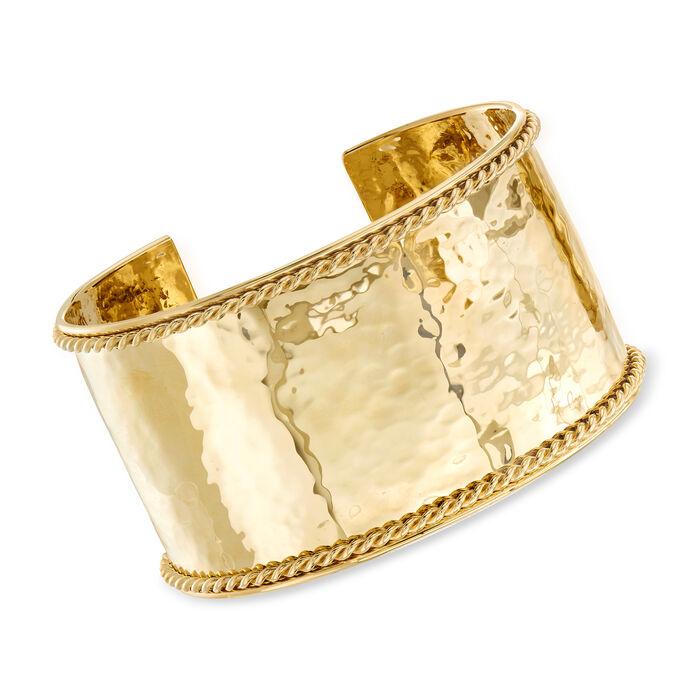 "Phillip Gavriel ""Italian Cable"" Large Cuff Bracelet in 14kt Yellow Gold. 7.5"""
