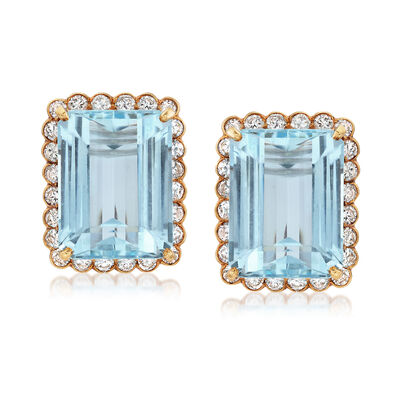 C. 1950 Vintage 42.00 ct. t.w. Aquamarine and 3.85 ct. t.w. Diamond Clip Earrings in 14kt Yellow Gold, , default
