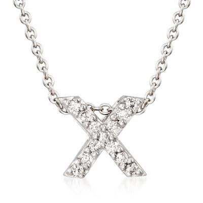"Roberto Coin ""Love Letter"" Diamond Accent Initial ""X"" Necklace in 18kt White Gold, , default"