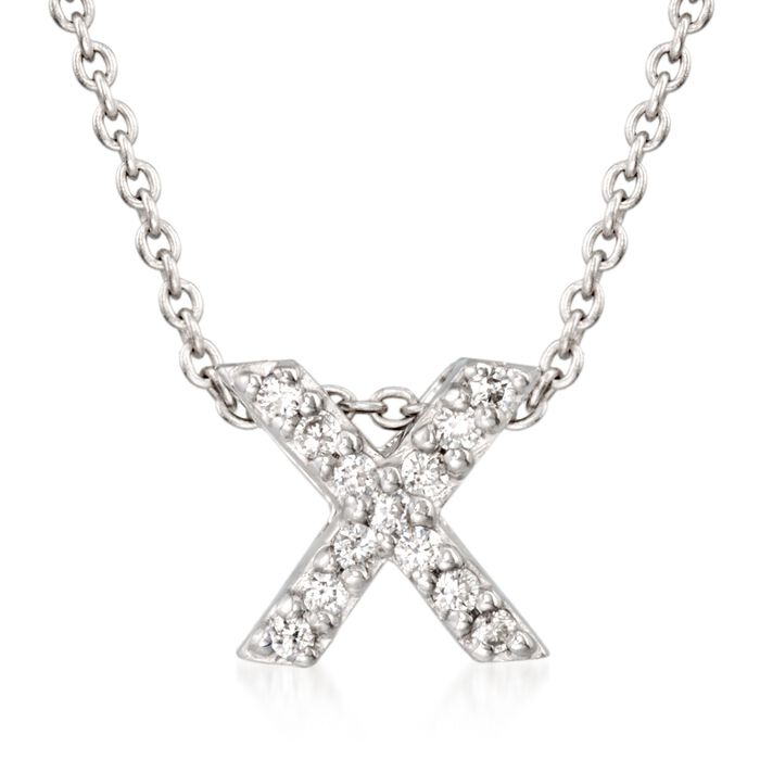 "Roberto Coin Tiny Treasures Diamond X Necklace in 18-Karat White Gold. 16"", , default"