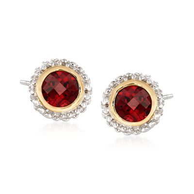 "Phillip Gavriel ""Popcorn"" 1.00 ct. t.w. Garnet Stud Earrings in Sterling Silver and 18kt Gold"