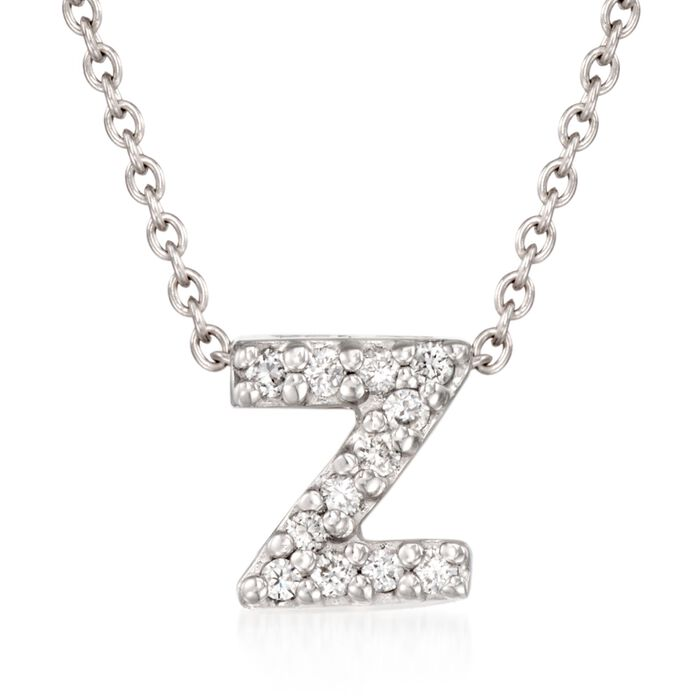 """Roberto Coin """"Love Letter"""" Diamond Accent Initial """"Z"""" Necklace in 18kt White Gold"""