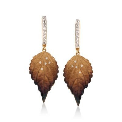 Simon G. .19 ct. t.w. Diamond Leaf Drop Earrings in 18kt Yellow Gold