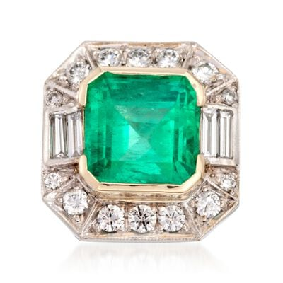 C. 1990 Vintage 7.74 Carat Emerald and 1.60 ct. t.w. Diamond Ring in 18kt Two-Tone Gold, , default