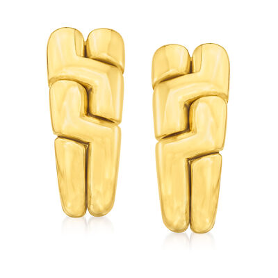 "C. 1990 Vintage Bulgari ""Parentesi"" 18kt Yellow Gold Earrings"