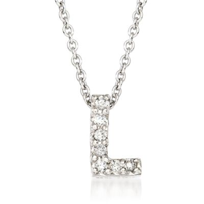 "Roberto Coin ""Love Letter"" Diamond Accent Initial ""L"" Necklace in 18kt White Gold, , default"