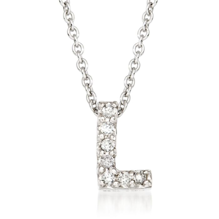 "Roberto Coin Tiny Treasures Diamond L Necklace in 18-Karat White Gold. 16"", , default"
