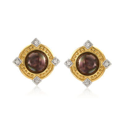 C. 1980 Vintage 13mm Chocolate Mabe Pearl and .50 ct. t.w. Diamond Earrings in 18kt Yellow Gold