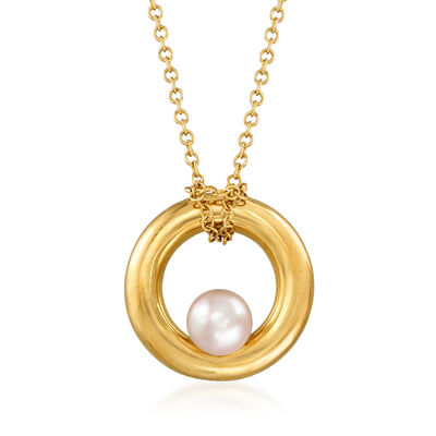 C. 1990 Vintage Mimi Milano 4.5mm Cultured Pearl Circle Necklace in 18kt Yellow Gold, , default