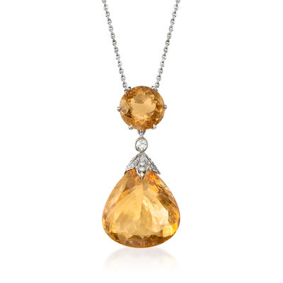 C. 1990 Vintage 29.75 ct. t.w. Citrine and .30 ct. t.w. Diamond Necklace with Sterling Silver and 18kt White Gold, , default