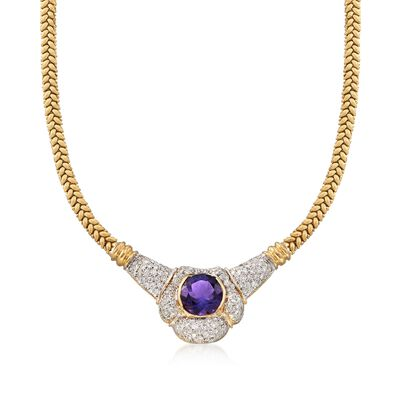 C. 1980 Vintage 7.60 Carat Amethyst and 1.75 ct. t.w. Diamond Necklace in 18kt Yellow Gold, , default