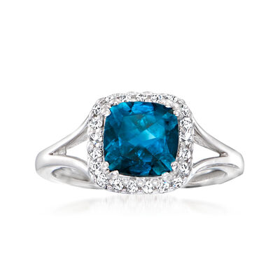 C. 1990 Vintage 1.70 Carat London Blue Topaz Ring with .21 ct. t.w. Diamonds in 14kt White Gold
