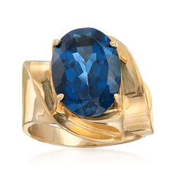 C. 1980 Vintage 7.00 Carat London Blue Topaz Ring in 10kt Yellow Gold, , default