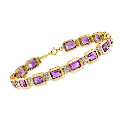 C. 1990 Vintage 9.00 ct. t.w. Amethyst and .15 ct. t.w. Diamond Bracelet in 10kt Yellow Gold
