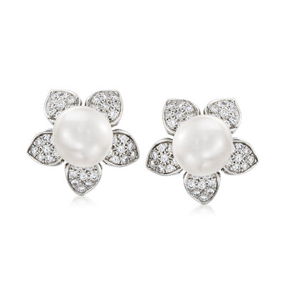 C. 1980 Vintage 11.5mm Cultured South Sea Pearl Flower Earrings with 2.00 ct. t.w. Diamonds in Platinum