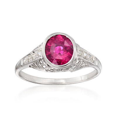 C. 1990 Vintage 1.15 Carat Pink Tourmaline and .20 ct. t.w. Diamond Filigree Ring in 14kt White Gold