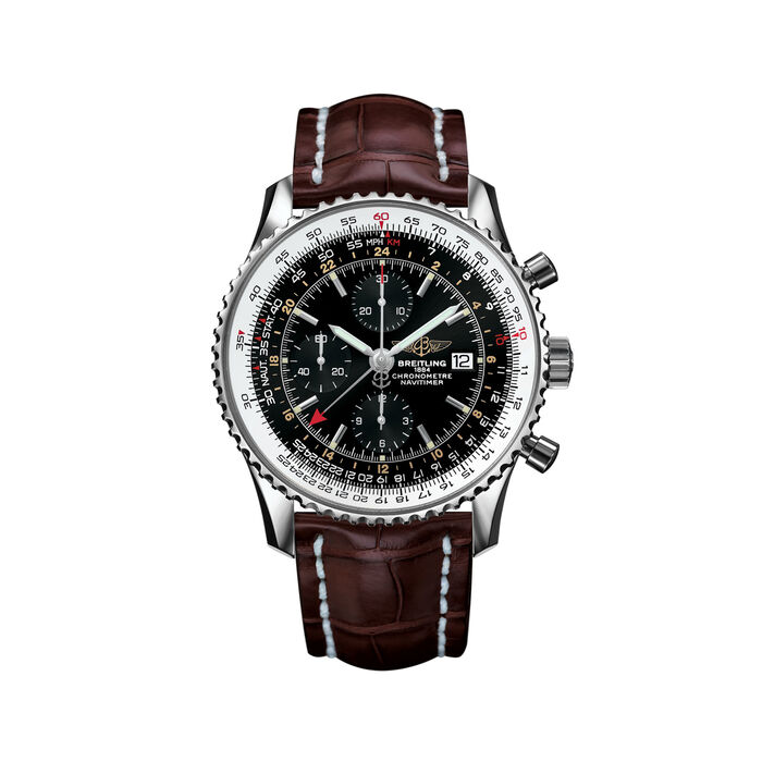 Breitling Navitimer Men's 46mm Stainless Steel Watch - Brown Strap, , default