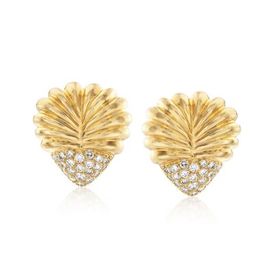 C. 1980 Vintage Henri Carre 2.20 ct. t.w. Diamond Ribbed Heart Earrings in 18kt Yellow Gold