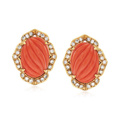 C. 1960 Vintage Red Coral and .55 ct. t.w. Diamond Earrings in 14kt Yellow Gold