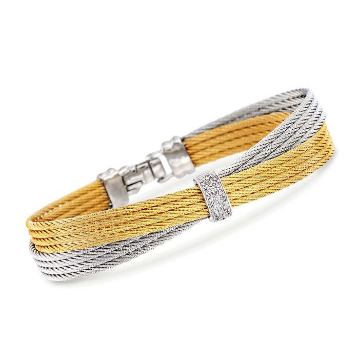 "ALOR Classique .16 Carat Total Weight Diamond Crisscross Bangle with 18-Karat White Gold in Two-Tone Stainless Steel. 7"", , default"