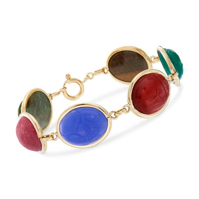 C. 1960 Vintage Multi-Gem Scarab Bracelet in 14kt Yellow Gold, , default