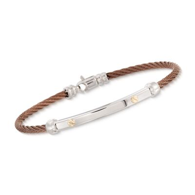 ALOR Men's Bronze Stainless Steel Cable Bracelet with 18kt Yellow Gold, , default